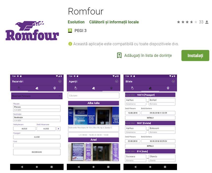 aplicatie mobile Romfour